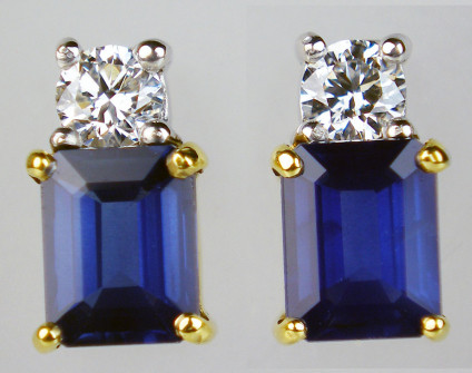 Rectangular sapphire & diamond earstuds in 18ct white & yellow gold - Beautiful pair of emerald cut blue sapphires set with diamonds in 18ct white & yellow gold. Earstuds are 8mm long by 4mm wide