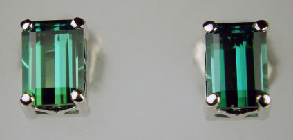 Emerald cut seagreen tourmaline earstuds in 18ct white gold - 1.72ct pair of sea green tourmaline emerald cuts set in 18ct white gold earstuds