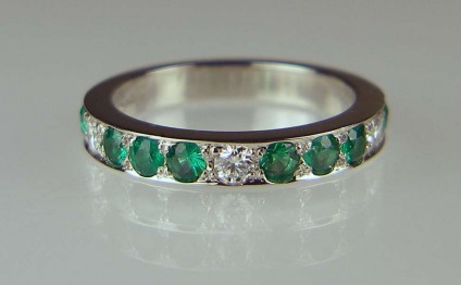 Emerald & diamond eternity ring - 2.5mm emeralds and diamonds set in platinum half eternity ring