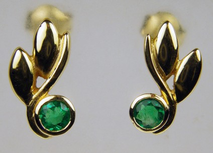 Colombian emerald drop earrings in 18ct yellow gold - Dainty and pretty earrings in 18ct yellow gold and set with Colombian emerald rounds
