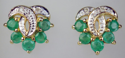 Emerald & diamond earrings in 9ct yellow gold - 0.652ct emeralds set with 0.02ct round brilliant cut diamonds in 9ct yellow and white gold