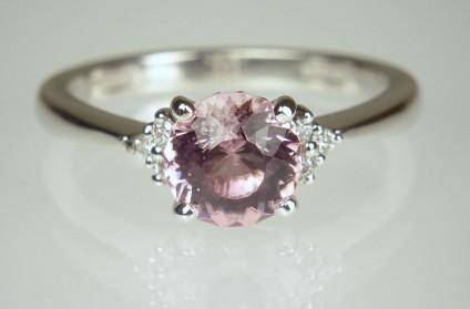 Pink tourmaline & diamond ring in 18ct white gold - Custom cut round pink tourmaline set with 0.05ct round brilliant cut diamonds in 18ct white gold