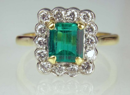 Emerald & diamond ring - Estate piece.  Manufactured by Mappin & Webb. 1.25ct emerald set with 0.56ct diamonds in 18ct yellow gold and platinum.