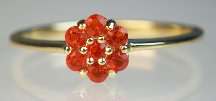 Fire opal cluster ring - Vibrant orange fire opal rounds set in a dainty flower cluster ring in 9ct yellow gold