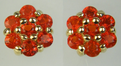 Fire opal cluster eartsuds - Dainty but vibrant orange fire opal set in 9ct yellow gold as cluster eartsuds