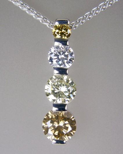 Coloured diamond pendant in gold - Coloured diamond pendant in 18ct white gold totalling 0.94ct diamonds. Pendant 18mm long.