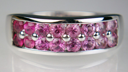 Pink sapphire shaded ring in 9ct white gold - Shades of pink sapphire in this colour graded ring set with round brilliant cut pink sapphires and mounted in 9ct white gold