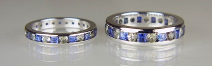 Blue and green sapphire matching wedding bands - Matched pair of wedding rings in 18ct white gold set with princess cut blue sapphires and round brilliant cut green sapphires.
