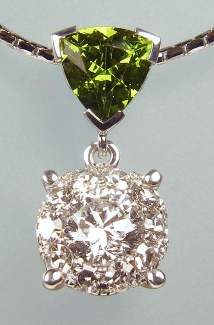 Green garnet & diamond pendant - 0.54ct green Mali garnet set with 0.5ct G colour SI clarity diamonds in 18ct white gold