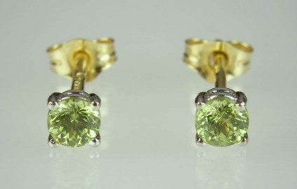 Green Garnet Earrings - 0.5ct pair of bright green round cut Mali garnets in 18ct white & yellow gold