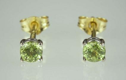 Green Garnet Earrings - 0.5ct pair of bright green round cut Mali garnets in 18ct white & yellow gold