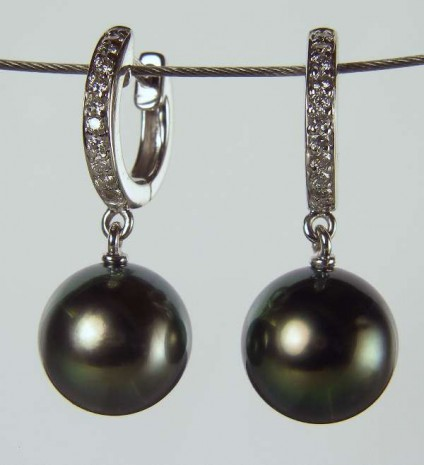 Green pearl earrings - Pair of green Tahitian pearls suspended from 0.13ct H/SI2  round brilliant cut diamonds in 18ct white gold