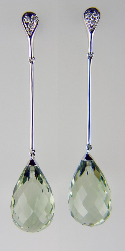 Green quartz & diamond drop earrings - Delicate green quartz faceted drops suspended from delicate diamond studs in 18ct white gold