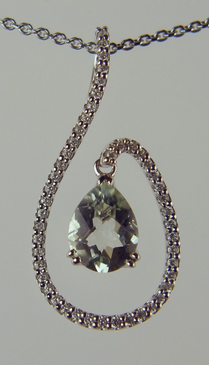 Green Quartz and Diamond Pendant -