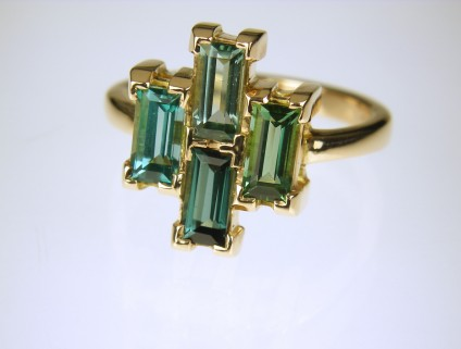 Tourmaline ring in rose gold - Subtly coloured green and teal tourmlines from Namibia is 18ct rose gold