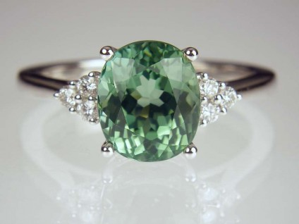 Sea green tourmaline & diamond ring - 3.27ct sea green tourmaline set with 0.12ct G/VS1 diamonds in 18ct white gold