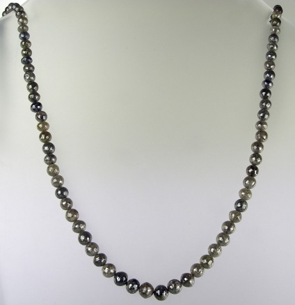 Grey diamond bead necklace - Faceted round graduated grey diamond beads necklace with 81.52ct diamonds, 43cm long, beads 2.6-6mm in diameter, 18ct white gold clasp