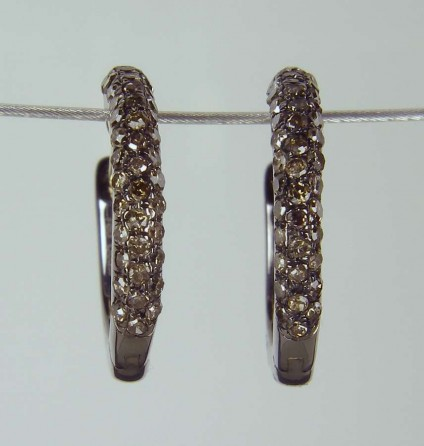 Grey diamond hoop earrings - 0.40ct grey diamonds set in silver as hoop earrings with 18ct yellow gold posts