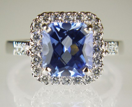 Harlequin cut sapphire and diamond ring - 2.60ct octagonal harlequin (chequerboard) cut blue sapphire from Sri Lanka, set with 0.44ct of round brilliant cut diamonds in E colour VS clarity, mounted in 18ct white gold