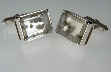 Pyrite included quartz cufflinks - Cufflinks with quartz included with pyrite mounted in silver.