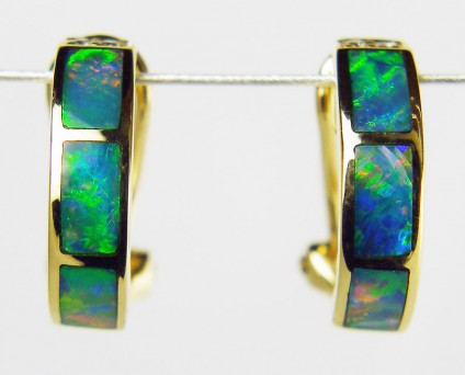Inlaid Black Opal Earrings - Black Opal hoop earrings in 18ct yellow gold