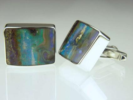 Boulder opal cufflinks - Boulder opal pair from Queensland set in silver, gentleman's cufflinks