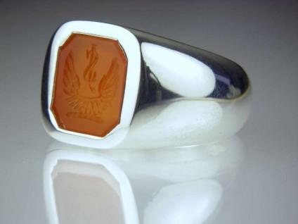 Carnelian intaglio silver ring - Gentleman's signet ring with a seal engraved carnelian intaglio, set in silver