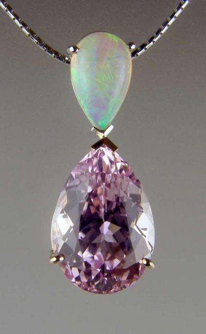 Kunzite & opal pendant -