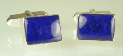 Lapis lazuli cufflinks in silver - 17.88ct Afghan lapis lazuli set as cufflinks in silver