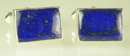 Lapis lazuli cufflinks in silver - 19.6ct Afghan lapis lazuli rectangular cabochons set as cufflinks in silver