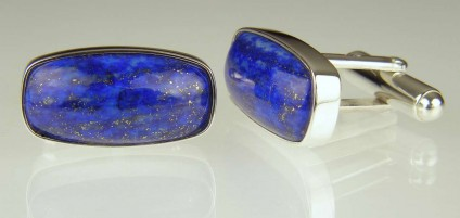 Lapis cufflinks in silver - Afghan lapis lazuli bezel set silver cufflinks