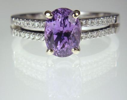 Lilac sapphire & diamond ring - Lilac Sapphire Ring 2.8ct lilac sapphire set with 0.24ct diamonds in 18ct white gold.
