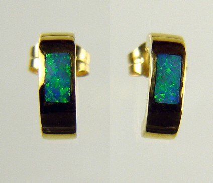 Inlaid opal earrings - Inlaid Australian opal set in 14ct yellow gold
