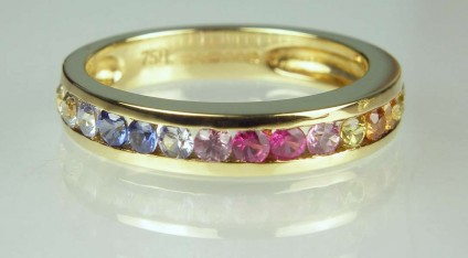 Multicoloured sapphire ring - 0.7ct natural multi-coloured coloured sapphires set in 18ct yellow gold