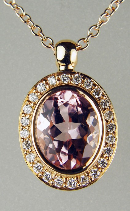 "Morganite & diamond pendant in rose gold - 1.60ct oval morganite set with 0.16ct diamonds in G colour VS clarity in 18ct rose gold and suspended from a 16-18"" adjustable fine trace chain in 18ct rose gold"