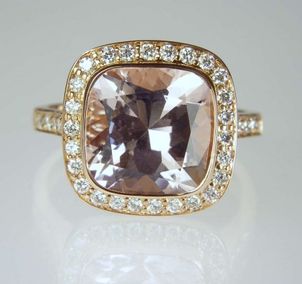 Morganite & diamond ring - 3.76ct cushion cut morganite set with 0.37ct G colour VS clarity round brilliant cut diamonds in 18ct rode gold. Morganite is a beryllium aluminium silicate mineral with the same chemical composition and structure as emerald, aquamarine and heliodor.