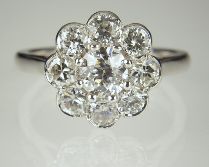 Diamond Cluster Ring - Remodelled ring using customer's diamonds from old jewellery, in platinum.