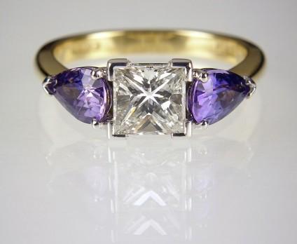 Sapphire & Diamond Ring in Platinum & 18ct Gold - Princess cut diamond & 1.35ct pear cut purple sapphires in platinum & 18ct yellow gold.