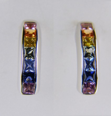 Multicoloured sapphire earrings in 18ct white gold - 1.5ct of natural coloured square cut sapphires channel set in earrings in 18ct white gold - there is a matching ring available too