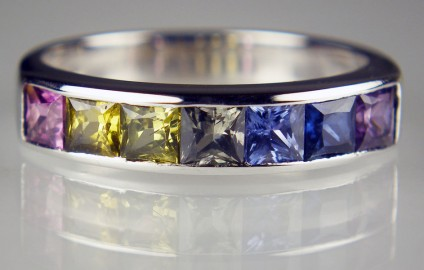 Multicoloured sapphire ring in 18ct white gold - 1.48ct of natural coloured square cut sapphires channel set in a ring in 18ct white gold - there are matching earrings available too