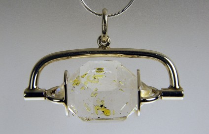 Oil included quartz pendant in silver - One of a number of bespoke designs for these rare oil included quartz crystals from Balochistan