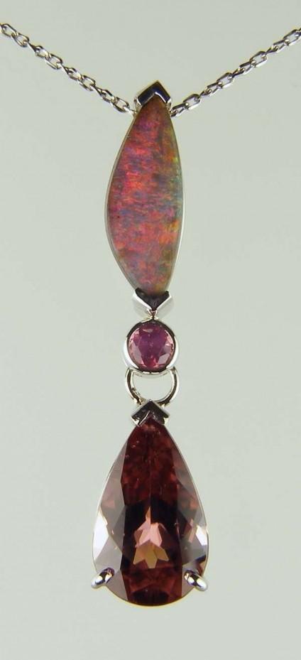 Opal, spinel & purple zircon pendant -