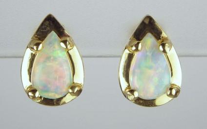 Opal earrings - Pear shaped opal cabochon earrings in 18ct yellow gold