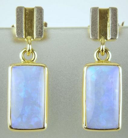 Opal earrings - Recatngular opal earrings in 18ct white & yellow gold