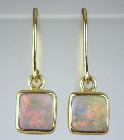 Opal earrings - Square opal earrings on shepherd's crook ear wires in 18ct yellow gold