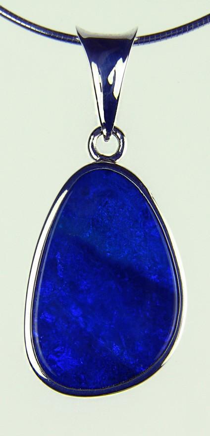 Boulder Opal Pendant - Doublet opal pendant in silver on silver chain
