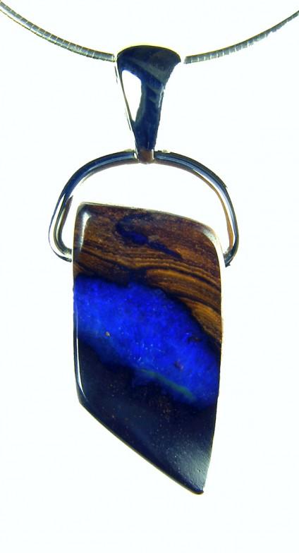 Solid Opal Pendant - Solid opal pendant in silver. 1.4X2.5mm opal pendant.