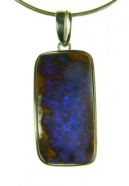 Boulder opal pendant - Boulder opal rectangular pendant in silver. 2.2x1.5cm opal pendant