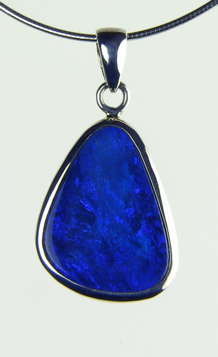 Boulder Opal Pendant - Opal doublet pendant in silver on silver chain. 2x1.5cm opal pendant
