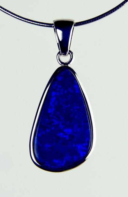 Boulder Opal Pendant -  Opal doublet pendant in silver on silver chain. 1.3X2.2 opal pendant